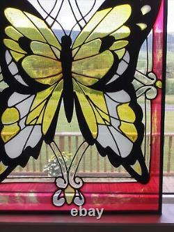 Vintage 10 X 14 Large Handcrafted stained glass window panel Butterfly
