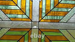 Vintage Custom Handcrafted Stained Glass Window Panel Multi Colored Arrow Design