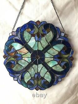 Vintage Handcrafted Jeweled stained glass panel 12 Diameter