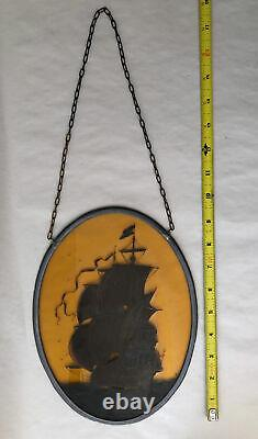 Vintage Handcrafted Oval Stained Glass Panel Ship At Sea Signed Art 7.25x9.75