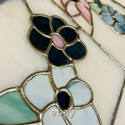 Vintage Handcrafted Stained Glass Window Insert Panels Pair (2) Tiffany-Style